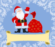 Christmas greeting from Santa. Santa Claus with gift bag. Christmas greeting card with blank scroll vector illustration