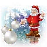 Christmas greeting Santa Claus. Christmas nacreous balls and Santa Claus Stock Photos