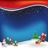 Christmas greeting with Santa Claus on a blue Stock Images
