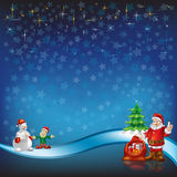 Christmas greeting with Santa Claus on a blue. Stars background Royalty Free Stock Photos