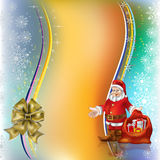 Christmas greeting Santa Claus with gifts. And gold bow Stock Photography