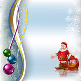 Christmas greeting Santa Claus with gifts. On a blue background Stock Photo