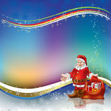 Christmas greeting Santa Claus with gifts Royalty Free Stock Images
