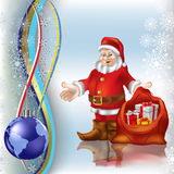 Christmas greeting Santa Claus with gifts. And globe Stock Photography
