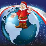 Christmas greeting Santa Claus on globe Royalty Free Stock Photos