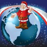 Christmas greeting Santa Claus on globe. Christmas greeting Santa Claus on blue globe Royalty Free Stock Photos