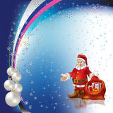Christmas greeting Santa Claus with pearl balls. On stars background Stock Images