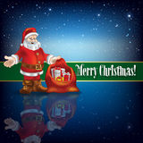 Christmas greeting with Santa Claus and snowflakes Stock Image