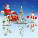Christmas greeting with Santa Claus and snowmen. Abstract Christmas blue greeting with Santa Claus and snowmen Stock Images