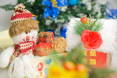 Christmas greeting Santa with gifts Stock Photos