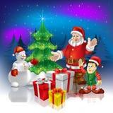 Christmas Greeting Santa With Gifts Stock Photo