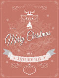 Christmas greeting scratched vector illustration. Christmas greeting card template vector illustration. Merry Christmas and Happy New Year greeting against the stock illustration