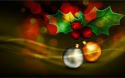 Christmas Greeting with Shiny Globes and Mistletoe Royalty Free Stock Photo
