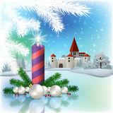 Christmas greeting with silhouette of castle Stock Image