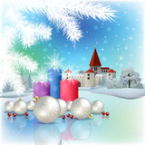 Christmas greeting with silhouette of castle Royalty Free Stock Photo