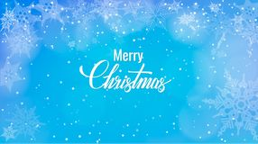 Christmas greeting on snow background. Merry Christmas words on blue winter background with snowfall. Christmas greeting on snow background, Merry Christmas Royalty Free Stock Image