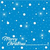 Christmas greeting with snow and stars. Illustration isolated on blue background Royalty Free Stock Image