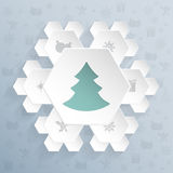 Christmas greeting with snowflake shaped hexagons Royalty Free Stock Photo