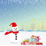 Christmas greeting snowman Royalty Free Stock Photos