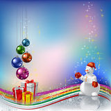 Christmas greeting with snowman and gifts Royalty Free Stock Image