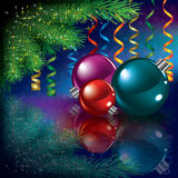 Christmas greeting with tree and decorations Stock Images