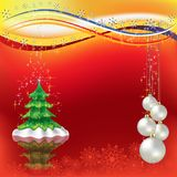 Christmas greeting with tree and pearl balls Stock Images