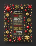 Christmas greeting type design in frame which is made from stars, ruby gems golden snowflakes and beads Stock Image