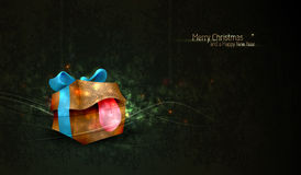 Christmas Greeting with Unique Gift Box Stock Images