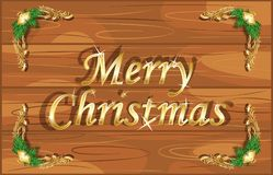 Christmas greeting was written on wooden board Royalty Free Stock Image