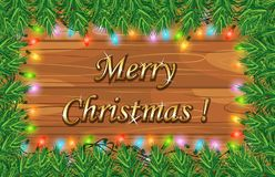 Christmas greeting was written on wooden board Stock Images