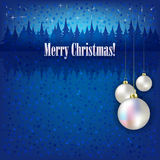 Christmas greeting with white balls Stock Images