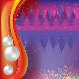 Christmas greeting with white balls and forest Stock Images