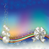 Christmas greeting white bow and balls Royalty Free Stock Images