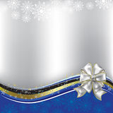 Christmas greeting white bow on silver background Royalty Free Stock Photos
