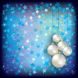 Christmas greeting with white decorations on blue Royalty Free Stock Photography