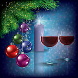Christmas greeting with wine glasses and candle Stock Images
