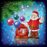 Christmas Greeting With Santa And Gifts On Blue Stock Image