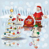 Christmas Greeting With Snowmen And Santa Claus Royalty Free Stock Photography