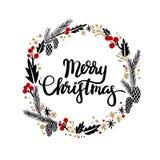 Christmas Greeting Wreath. Calligraphy. Christmas Greeting Wreaths with Calligraphy. Calligraphic Christmas Lettering. Merry Christmas Typographic Design royalty free illustration