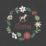 Christmas greeting wreath with hobbyhorse. Decorative greeting wreath with hobbyhorse. Christmas collection. Hand drawn illustration. Design elements Stock Photo