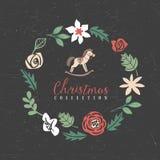 Christmas greeting wreath with hobbyhorse. Stock Photo