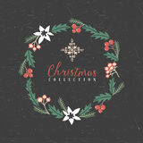 Christmas greeting wreath with snowflake. Decorative greeting wreath with snowflake. Christmas collection. Hand drawn illustration. Design elements Stock Images