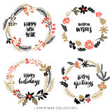Christmas greeting wreaths with calligraphy. Stock Photo
