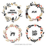 Christmas greeting wreaths with calligraphy. Royalty Free Stock Photos