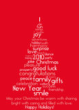Christmas greetings. Christmas trees made out of greetings words Royalty Free Stock Photography