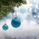 Christmas Greetings. Christmas background with decorations and fir Royalty Free Stock Photo