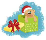 Christmas greetings card. With bear Stock Images