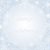 Christmas greetings card. Merry Christmas wishing card with snowflakes border Royalty Free Stock Images