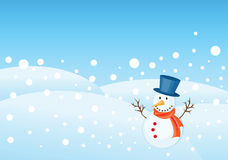 Christmas greetings card. Snowman illustrations for christmas greetings card. copy space for message Stock Photo