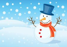 Christmas greetings card. Snowman illustrations for christmas greetings card Royalty Free Stock Images